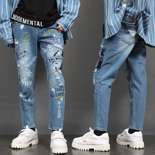 Vintage Damaged Handmade Painting Slim Blue Jeans 035