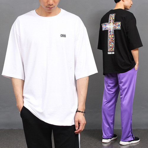 Back Cross Logo Printing Boxy Short Sleeve Tee 158