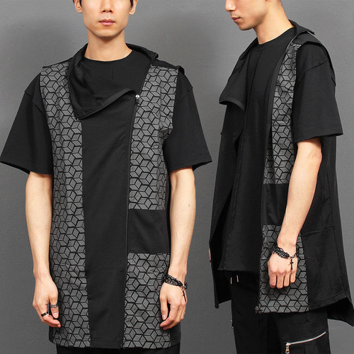 Avant garde Cube Checkered Curved Zip Up Long Vest 003