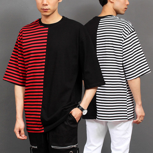 Contrast Half Color Striped Pattern Short Sleeve Tee 174
