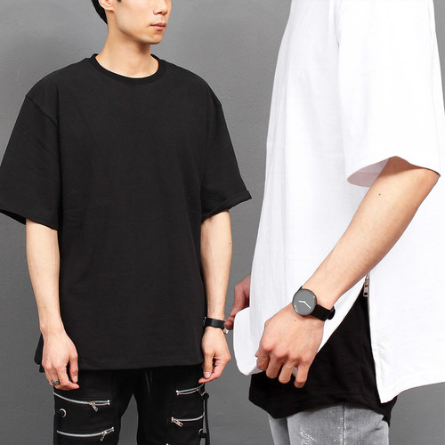 Street Fashion Layered Styling Split Side Zipper Boxy Tee 177