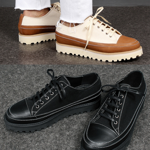 4.5cm Hard Sole Canvas Leather Sneakers 011