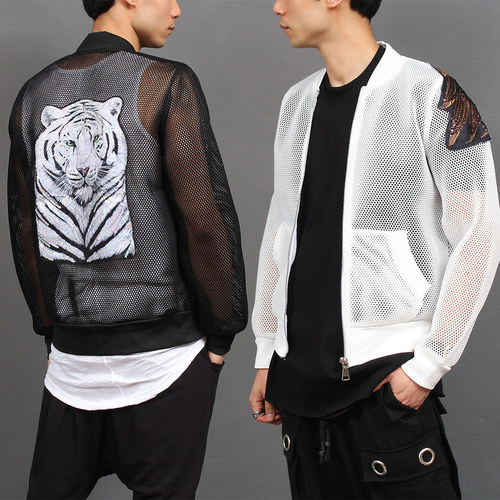 Tiger Eagle Spangle Mesh Blouson Bomber Jacket 021