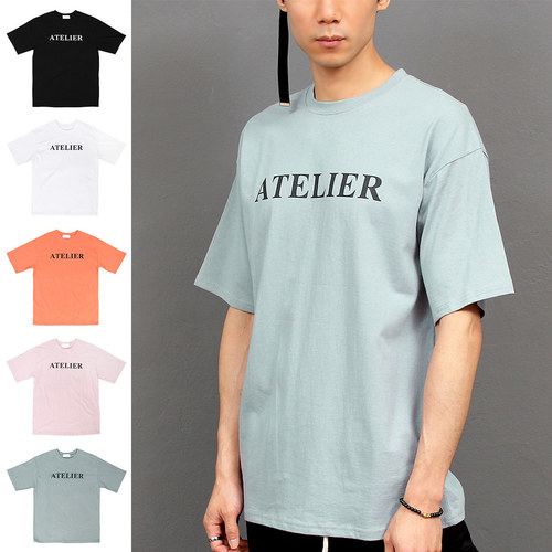 Faded Color Logo Printing Boxy Short Sleeve Tee 191