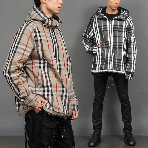 Check Pattern Windproof Zip Up Anorak Hoodie