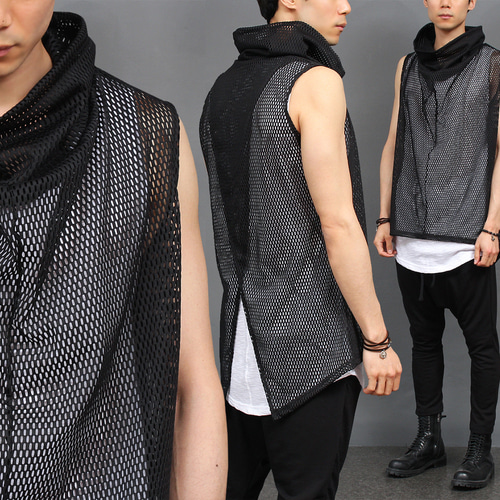 Avant garde High Turtle Neck Mesh Vest 007