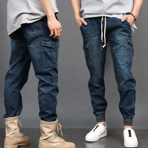 Vintage Distressed Blue Denim Cargo Pocket Joggers 078