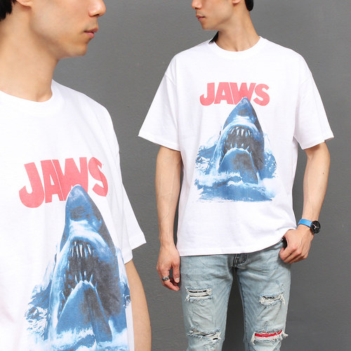 Loose Fit Jaws Graphic Printing Boxy Short Sleeve Tee 245
