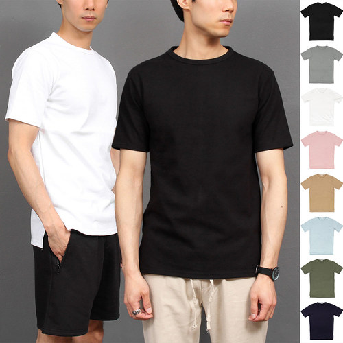 Unbalanced Hem Split Side Crew Neck Short Sleeve Tee 246