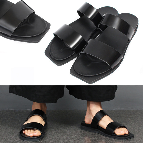 Square Toe Black Leather Sandals 003