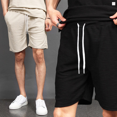 Standard Fit Slub Sportive Short Sweatpants 017