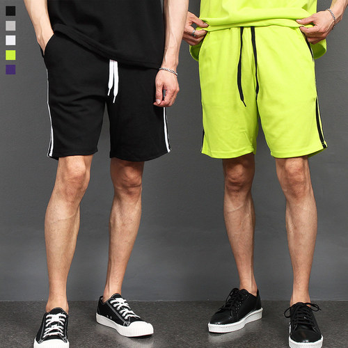 Side Double Line Color Short Sweatpants 022