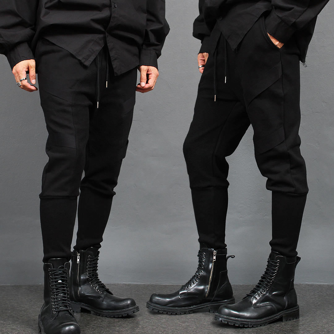 Diagonal Webbing Strap Long Ribbed Hem Sweatpants