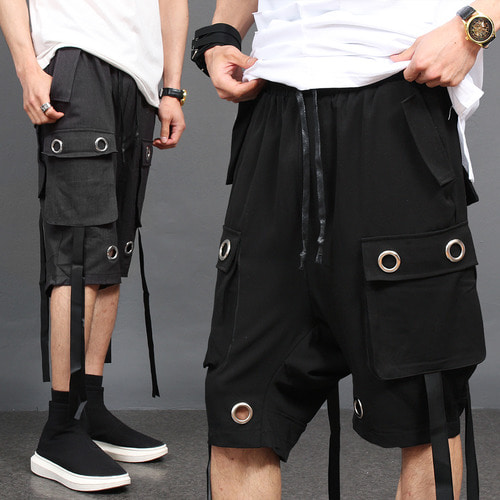 Eyelet Cargo Pocket Strap Draped Baggy Half Pants