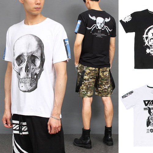 Skull Graphic Printing Short Sleeve Tee 271
