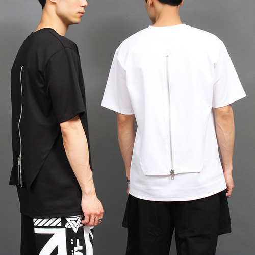 Unique Layered Back Zipper Short Sleeve Tee 276