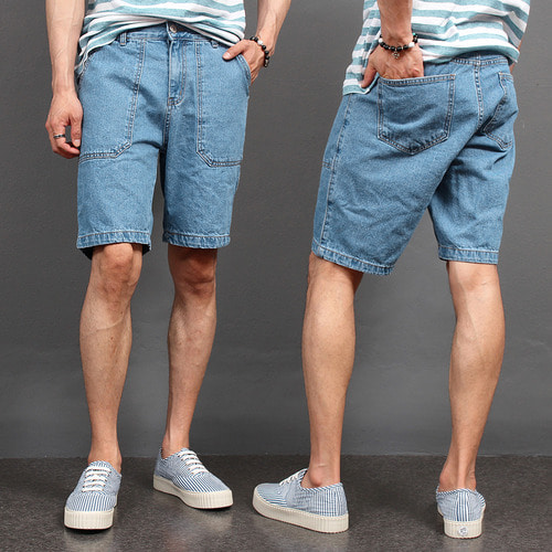 Vintage Faded Blue Denim Shorts 037