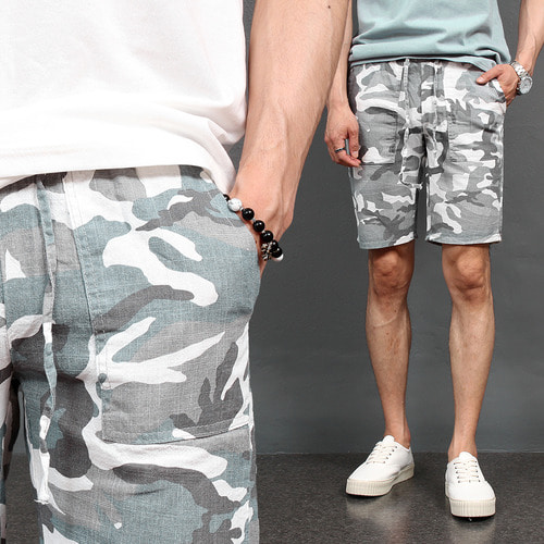 Military Camouflage Linen Half Sweatpants 036