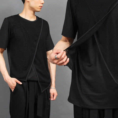 Avant garde Mesh Crossed Double Layered Short Sleeve Tee 284