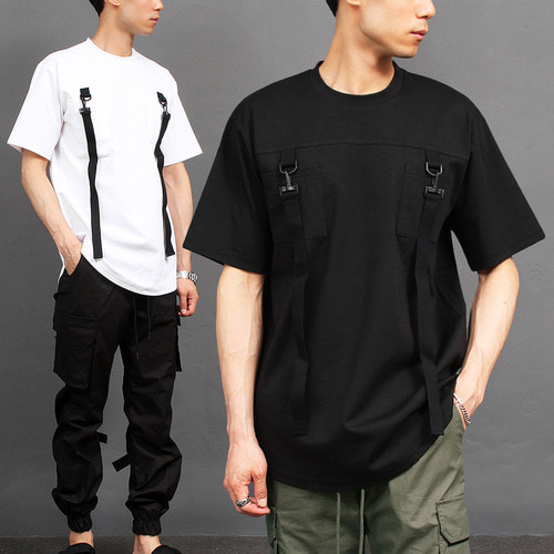 Techwear Look D Ring Strap Pocket Short Sleeve Tee 284