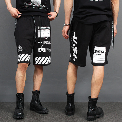 Street Fashion Graphic Printing Short Sweatpants 038