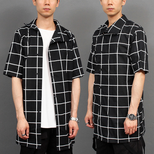 Unbalanced Collar Off Center Button Up Checkered Half Shirt 041