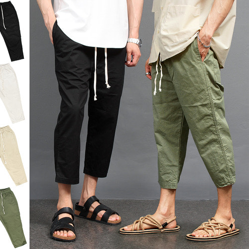 Drop Crotch 4/5 Baggy Color Crop Sweatpants 093