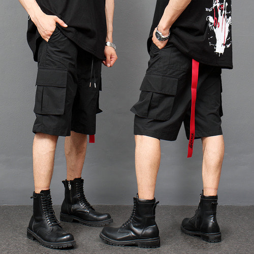 Black Low Crotch Cargo Pocket 3/4 Baggy Sweatpants 094