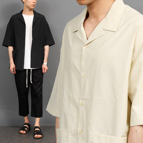 Loose Fit Pocket Boxy Short Sleeve Shirt 042