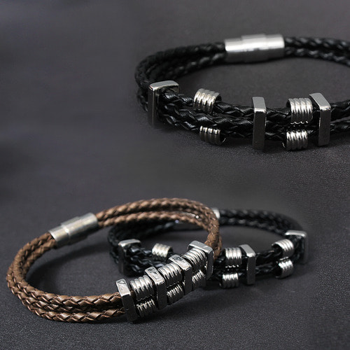 Triple Spring Double Twist Strap Bracelet B224