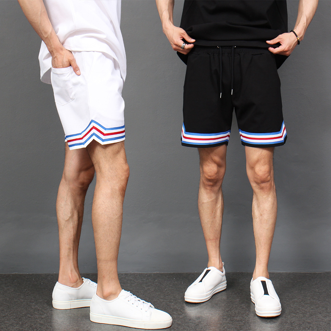 Contrast Side Line Sportive Short Sweatpants 044