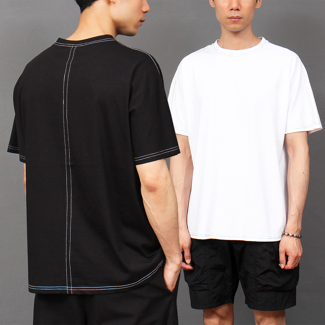Crew Neck Stitch Trim Short Sleeve Tee 302