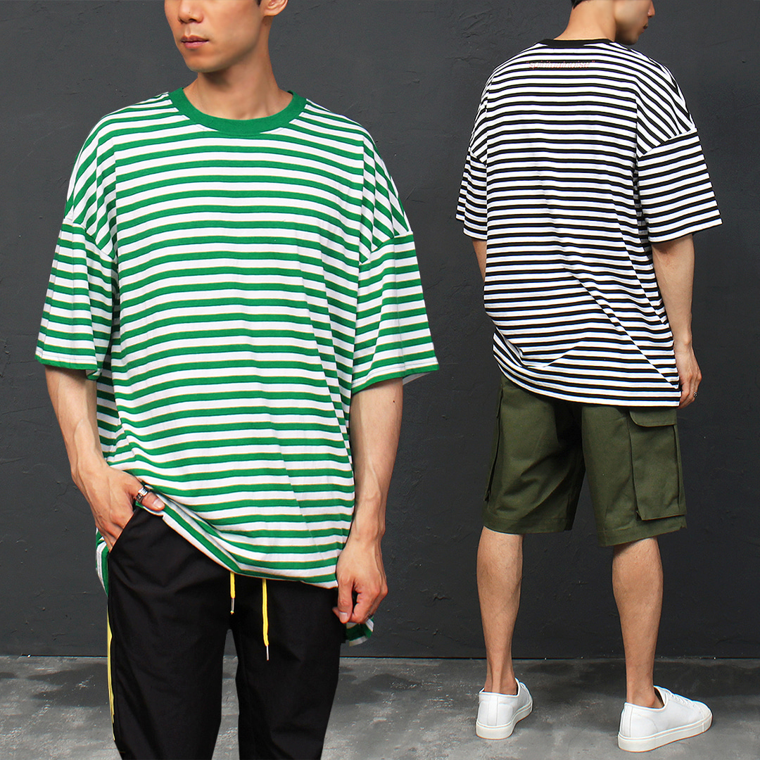 Loose Fit Boxy Striped Short Sleeve Tee 306