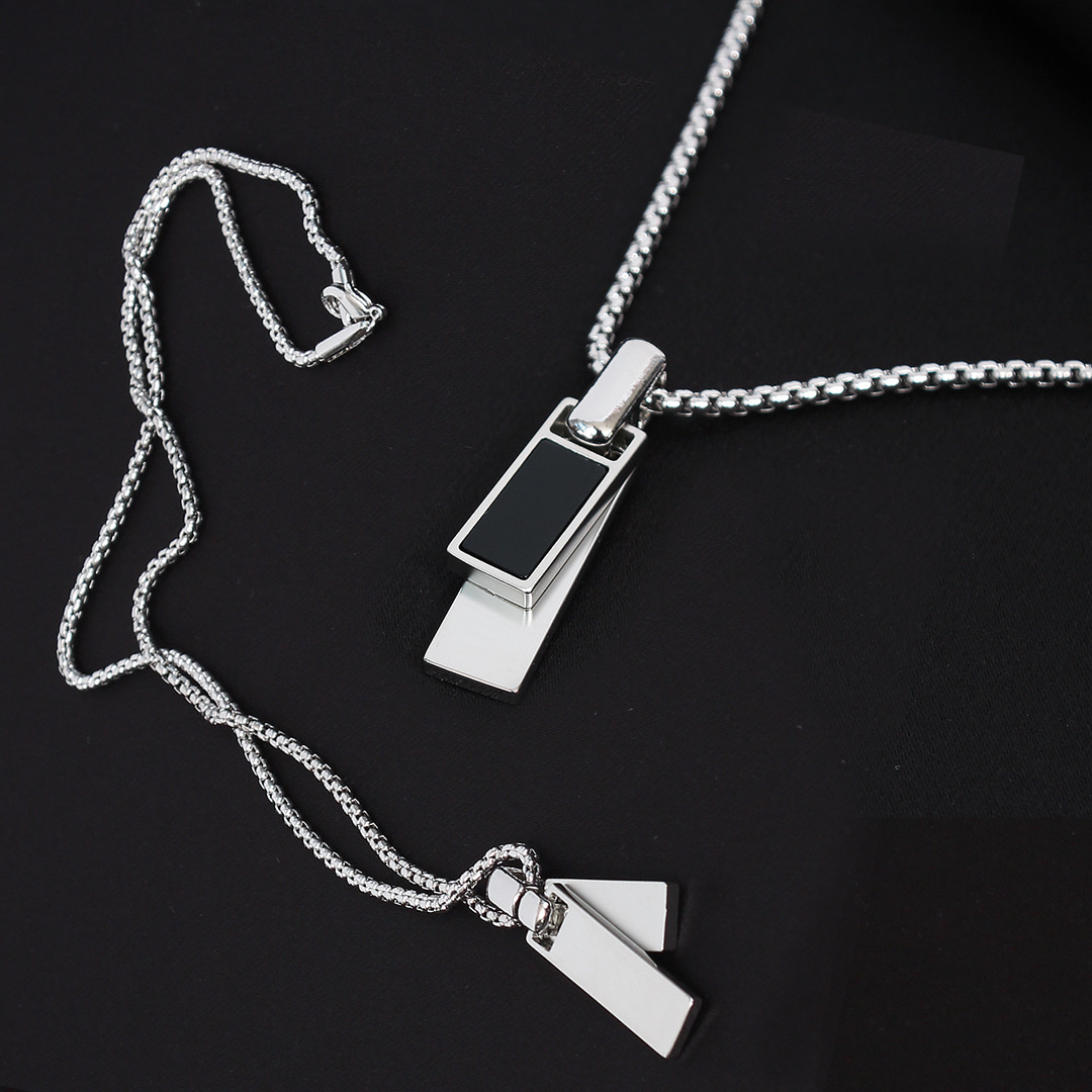 Silver Tone Steel Layered Square Necklace N100