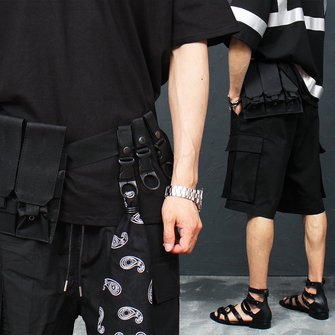 Techwear Look Webbing Buckle Bandana Multi Bag 006