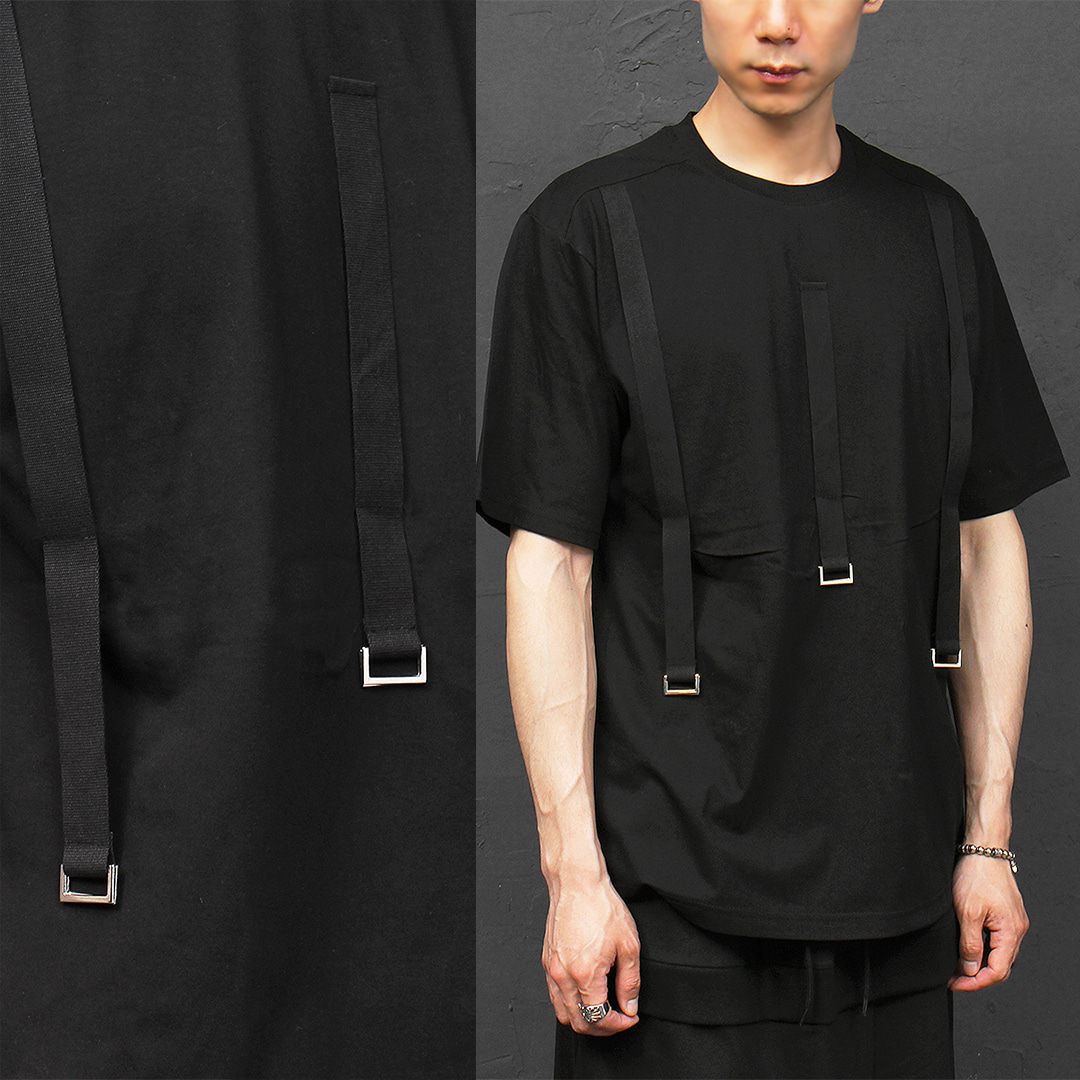 Techwear Look Webbing Strap Square Ring Tee 307