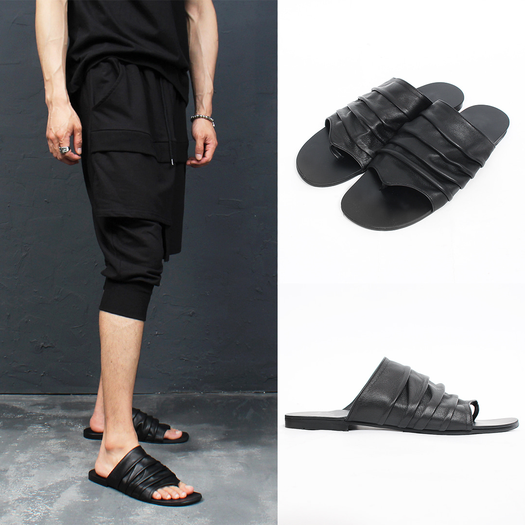 Black Lamb Skin Leather Shirring Wrinkle Sandals 001