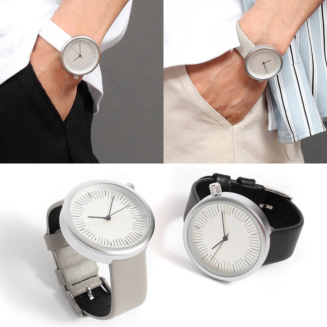 Contrast Color No Number Round Leather Strap Watch 020