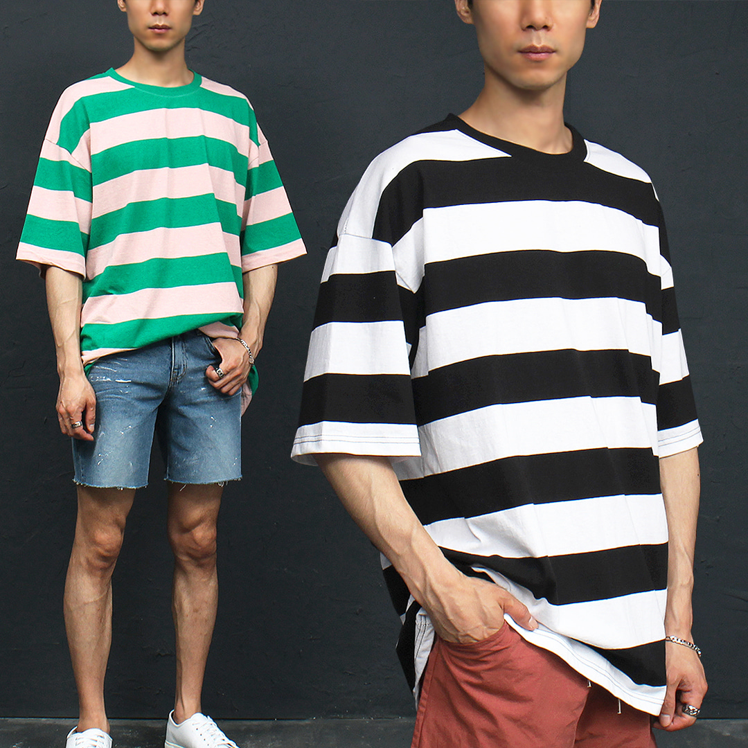 Loose Fit 3 Color Striped Pattern Boxy Short Sleeve Tee 308