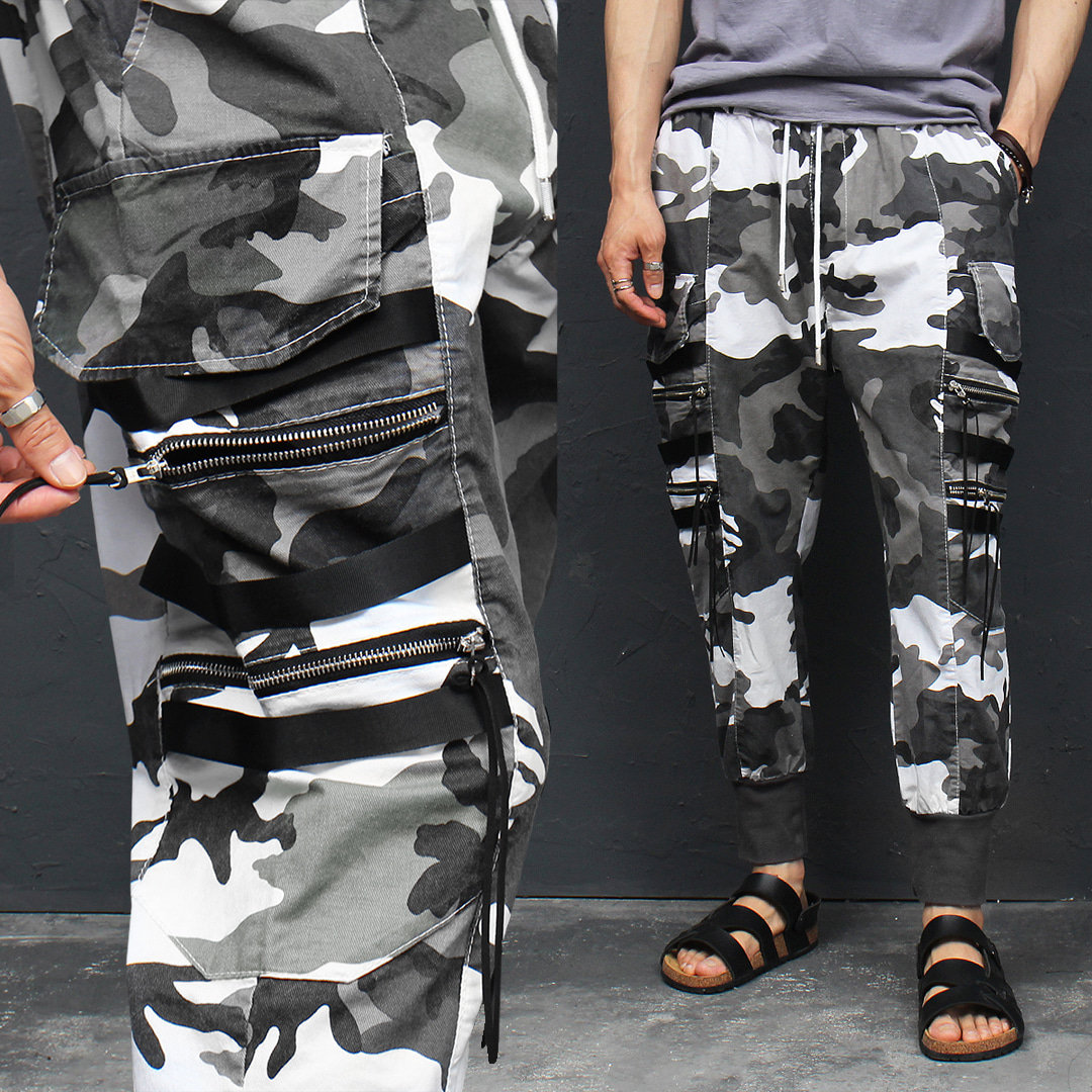 Camouflage Zipper Long Cargo Pocket Jogger Pants 096