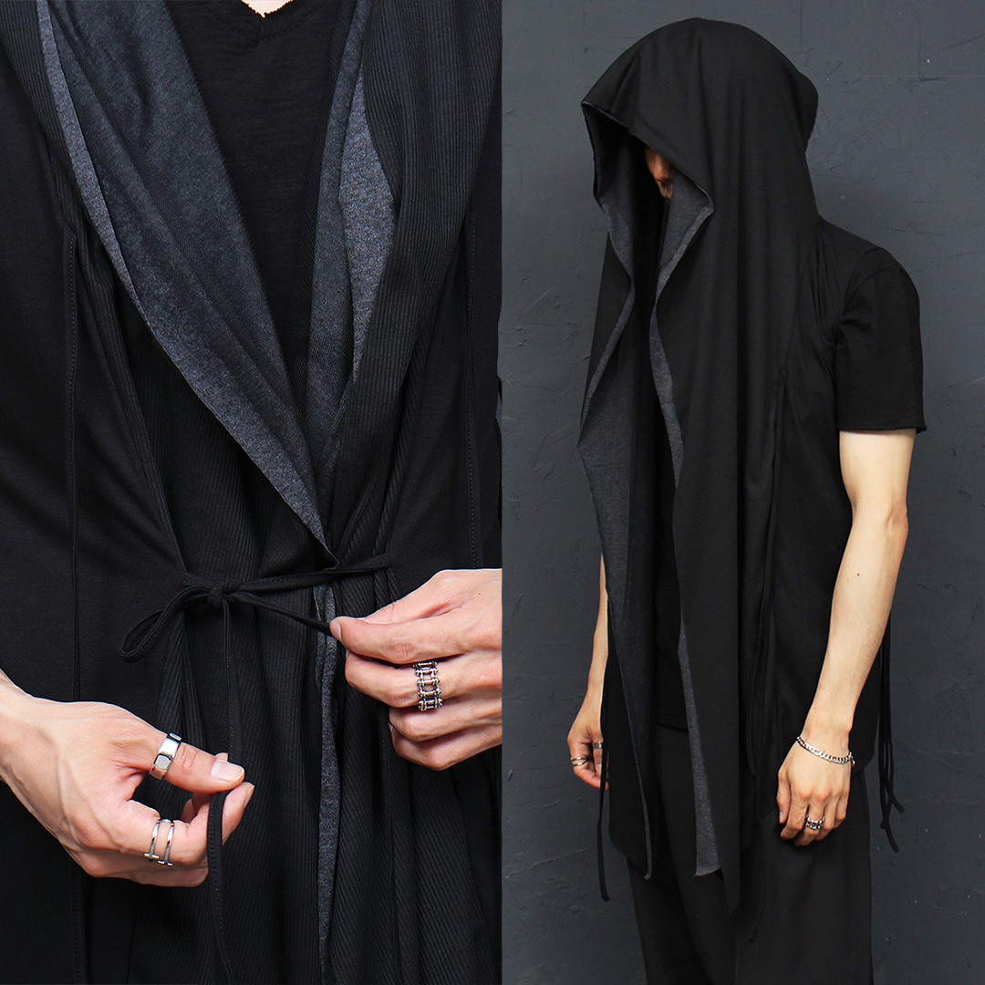 Avant garde Double Layered Shirring Shawl Hooded Vest 010