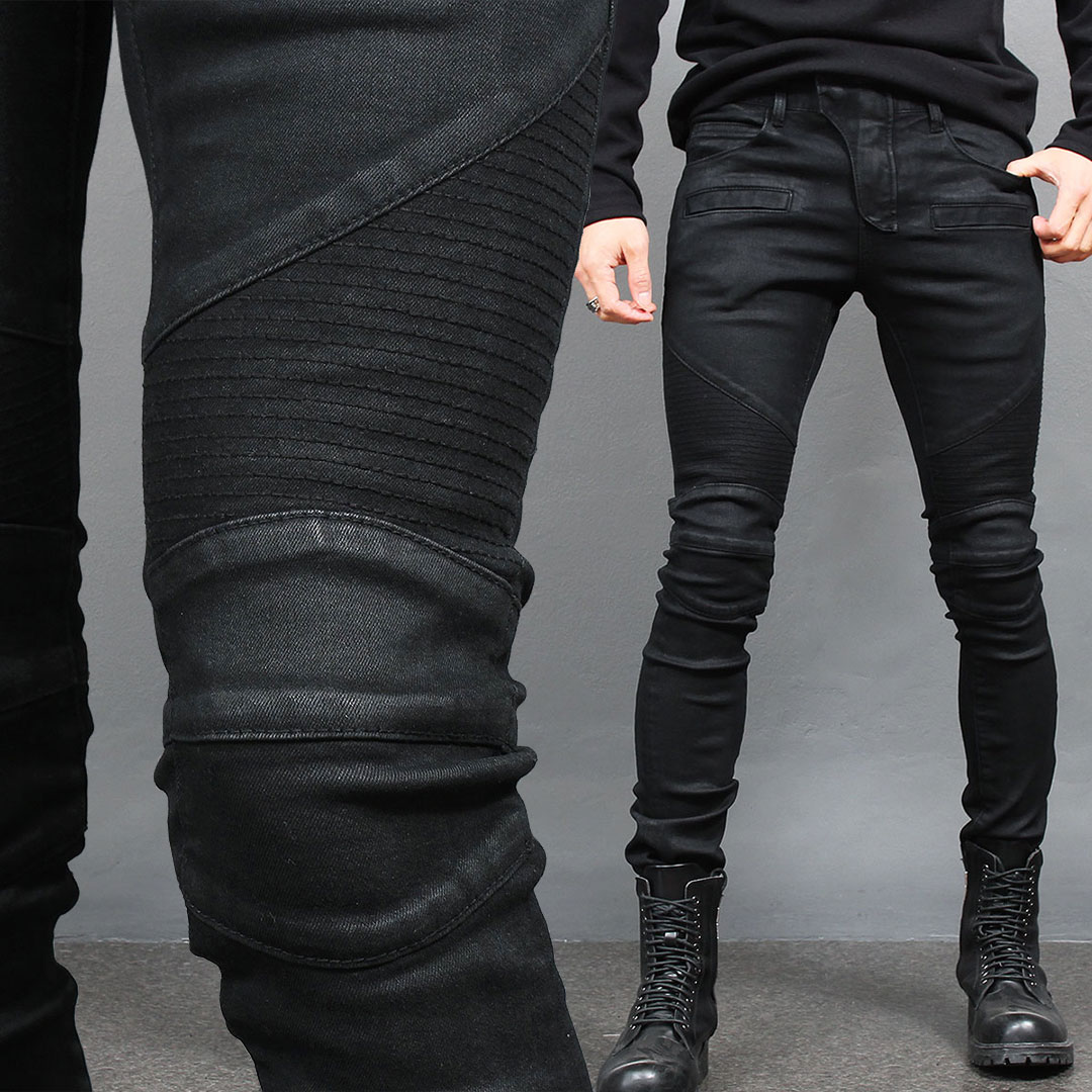 Super Slim Fit Black Wax Coated Seaming Bikers Skinny Jeans 015