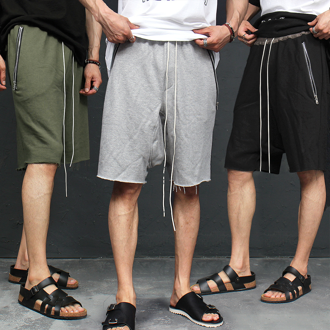 Vintage Zipper Pocket Low Crotch Short Sweatpants 057