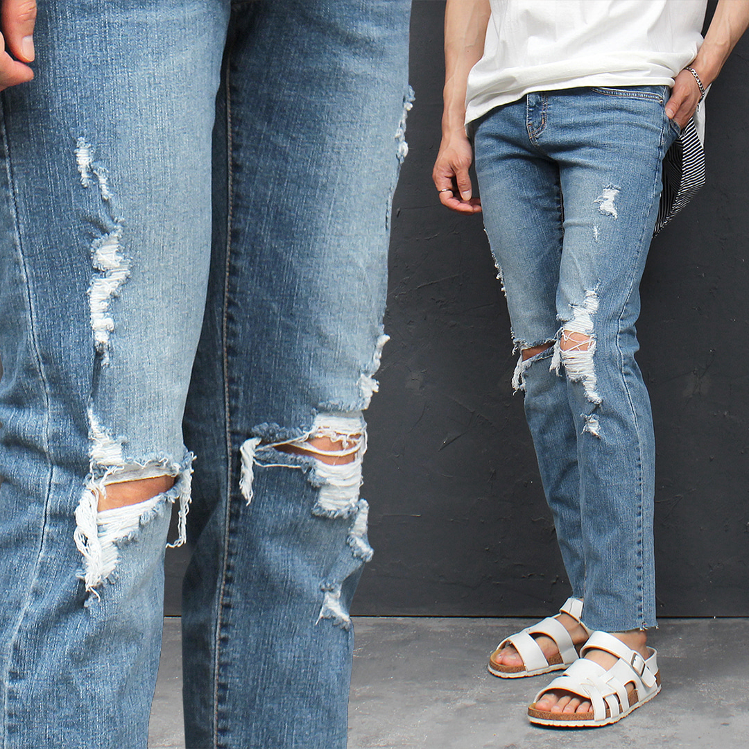 Vintage Distressed Destroyed Summer Blue Slim Jeans 082
