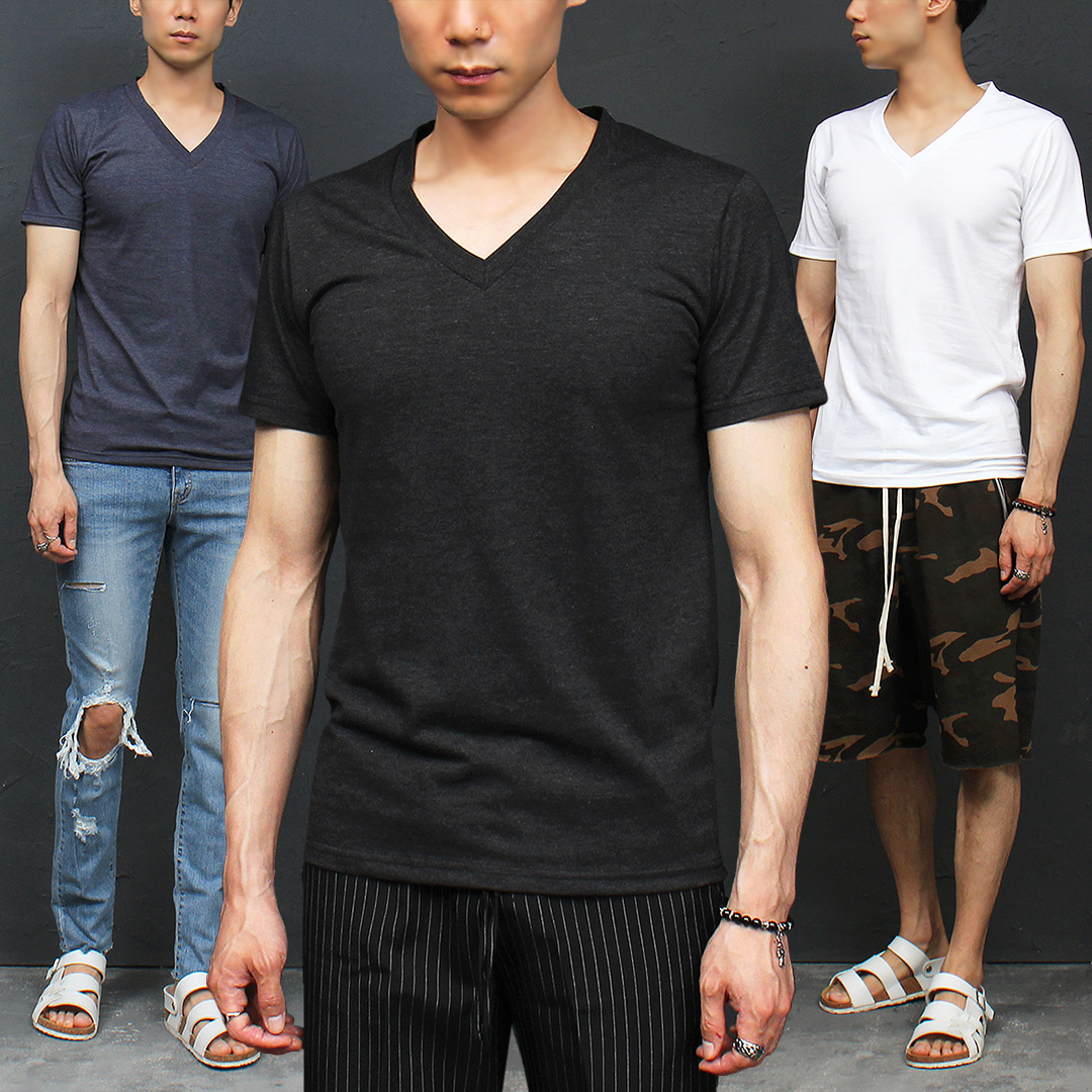 Slim Fit V Neck Color Short Sleeve Tee 322