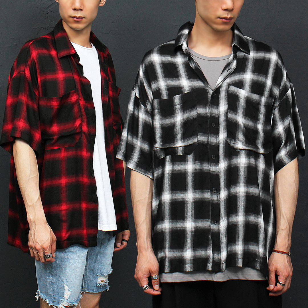 Loose Fit Split Side Checkered Pattern Short Sleeve Shirt 048