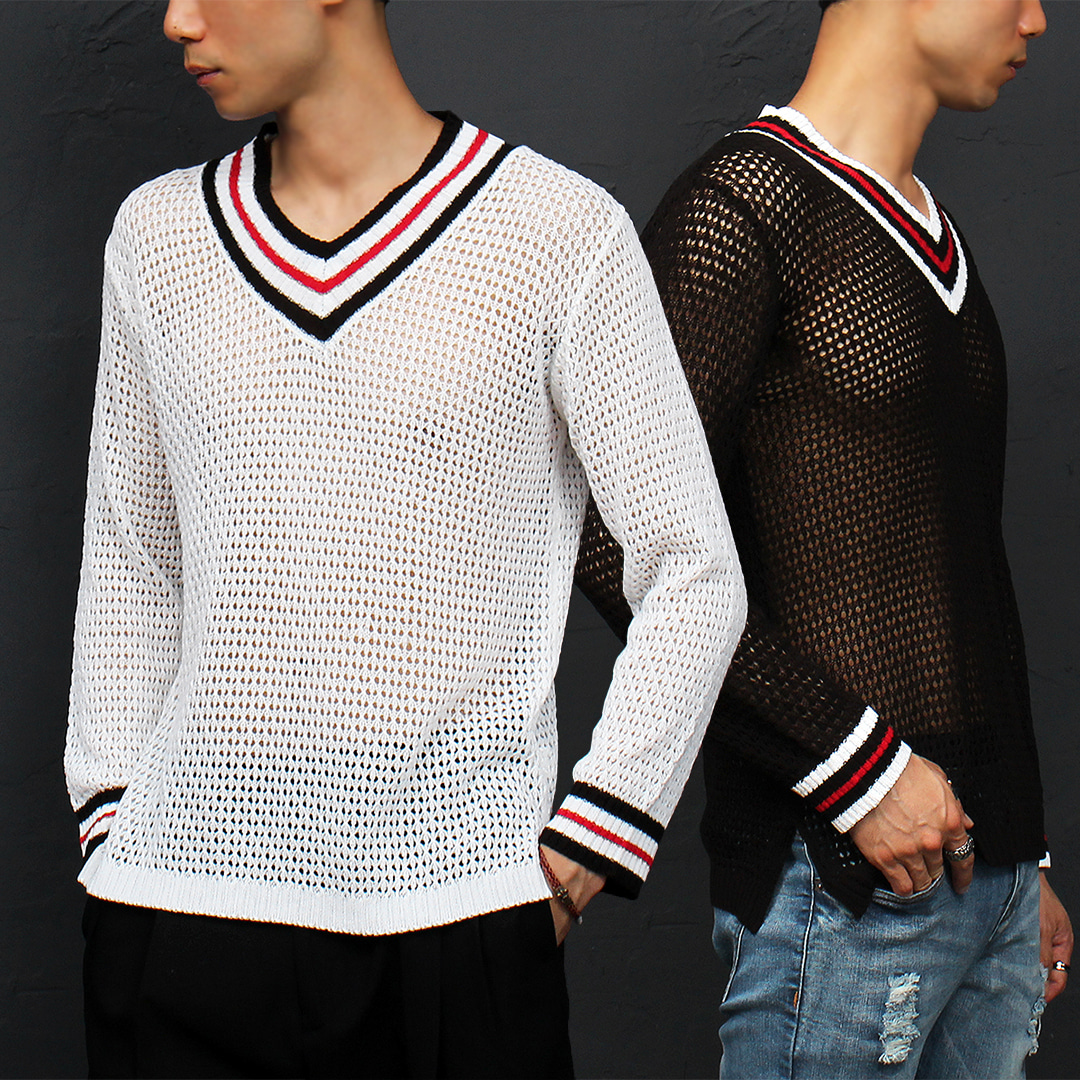 See Through Mesh V Neck Collar Knit Tee