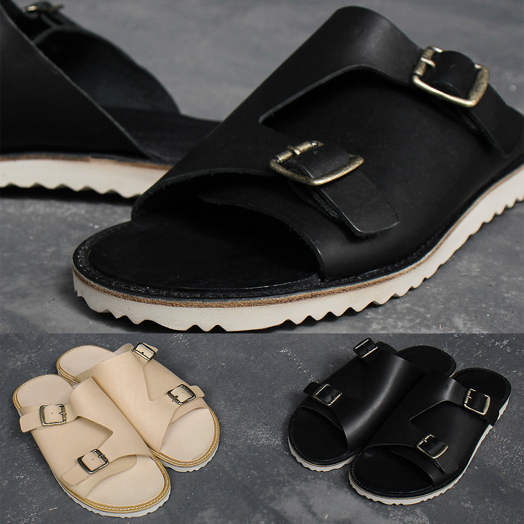 Cowhide Skin Leather Double Buckle Sandals 005