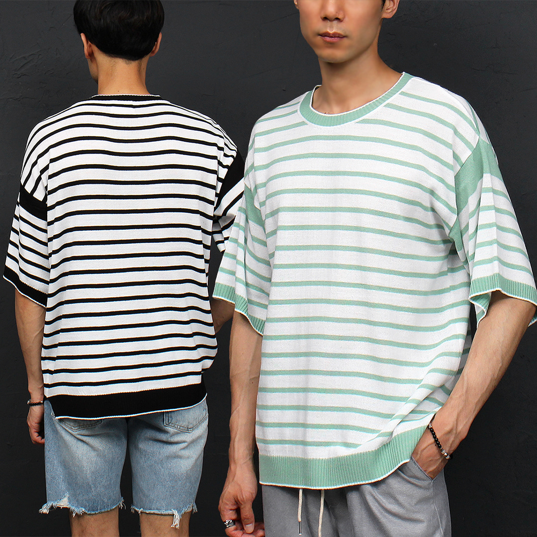 Loose Fit Striped Pattern Boxy Knit Half Sleeve Tee 008