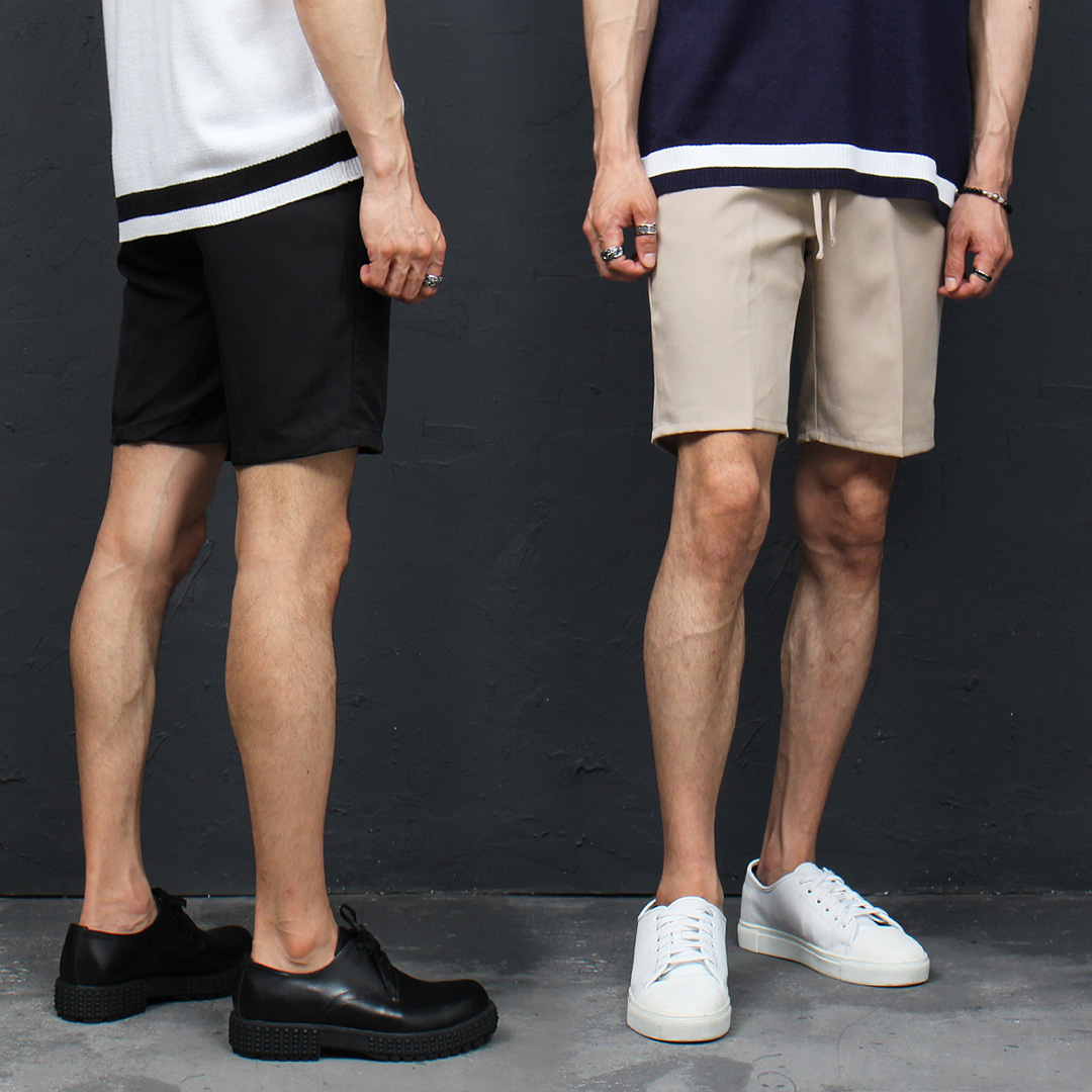 Slim Fit Elastic Waist Slim Short Pants 062